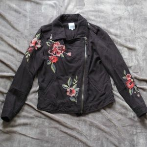 Kensie | Floral Black Denim Jacket